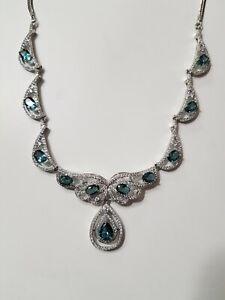 Blautopas collier Kette 925 Silber 52cm