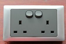 GET Homebase Rocca 2G Double 13A plug socket Mercury/Brushed Silver Grey Insert