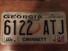 "Genuine Georgia License Plate ""6122 ATJ"" Gwinnett county"