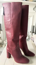 Ladies Leather Zara High Heel Long Boots In Burgundy UK 5 BNWT RRP £119