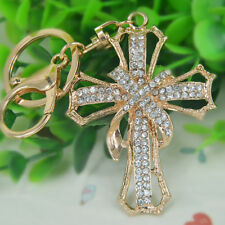 New Cross Keyring Rhinestone Crystal Pendant Bag Keychain Love Christmas Gift