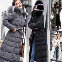 Womens Down Hooded Winter Warm Knee Length Thick Long Coat Jacket Parka Overcoat