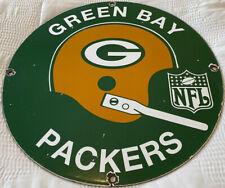 VINTAGE GREEN BAY PACKERS PORCELAIN SIGN WISCONSIN FOOTBALL NFL LAMBEAU FIELD