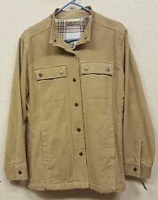 NWT Women's I.E. Relaxed Tan Corduroy Long Sleeve Snap Button Front Jacket - Med