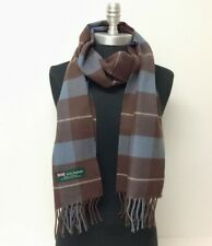 Men Women 100%CASHMERE SCARF SCOTLAND Wool Wrap Plaid Check Dark Brown Gray