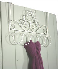 Ornate Shabby Chic Cream Ivory Scroll Metal Over Door Scarf Accessory Hanger