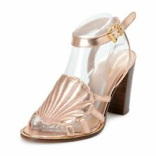 Just Cavalli Women's Golden Rose Open Toe Strappy High Heels Shoes US 9 IT 39