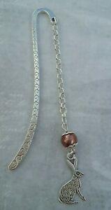 Tibetan Silver Bookmark - Brown Bead & RABBIT/HARE/BUNNY. GIFT PRESENT.