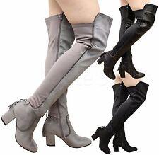 Ladies Womens Tassel Tie Fringe High Block Heel Shoes Thigh High Over Knee Boots