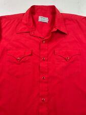 Vintage H Bar C Western Shirt Long Sleeve Pearl Snap Red Usa Cowboy Mens 18