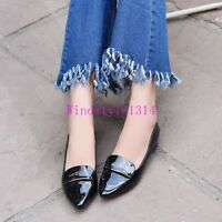 Womens Pumps Single Shoes Low Heel Pull On Patent Leather Pointy Toe Work shoes