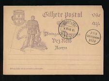Portugais des açores 1894 commémorative papeterie carte cto ponta delgada