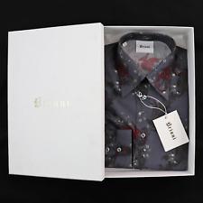 $600 NIB BRIONI Cool Gray Paisley Slim Fit Point Collar Casual Shirt S + GIFT!