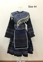 Vintage tribal Hmong women natural traditional outfit with embroider of Hmong
