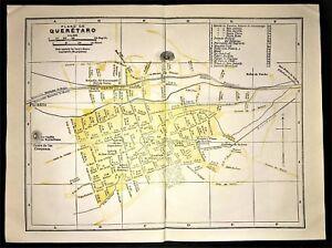 1947 ORIGINAL COLOR MAP ~ PLAN of QUERETARO, MEXICO ~ STREET ATLAS ~ RARE