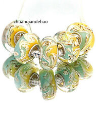 5pcs MURANO Lampwork charm Beads fit 925 silver European Bracelet Chain a1034