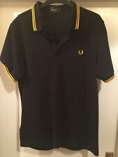 MENS BLACK FRED PERRY POLO LARGE SLIM FIT