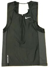 Nike 706288 Mens Triathlon Tri Swim Top Tank Singlet Black w/White - Small   $87
