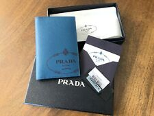 Prada Blue Saffiano Leather passport wallet