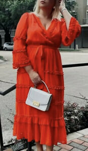 ALEXIS For Target Dark Orange Angel Sleeve Tiered Ruffle Dress Size Large