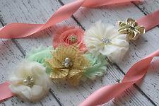 Flower Sash,ivory gold mint coral Sash,  flower Belt, maternity sash