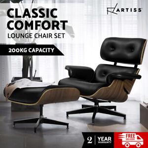 Artiss Armchair Lounge Chair Ottoman Recliner Chairs Single Sofa Leather Black