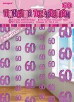 GLITZ PINK 6 HANGING DECORATIONS 60TH BIRTHDAY 1.5M/5' BIRTHDAY PARTY SUPPLIES