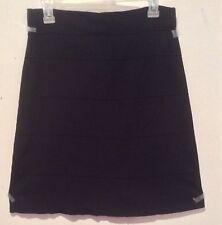 Cache Knee Length Black Stretchy Jersey Ribbon Style Skirt Size M