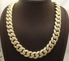 "33"" ICED OUT Miami Cuban Cuban Chain Necklace Real Solid 14K Gold Clad Silver"