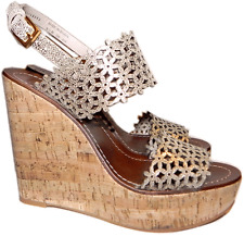 Tory Burch DAISY Wedge Sandals Gold Patent Leather Laser Cut Shoe Clogs 10- 40