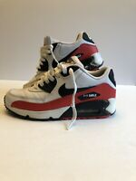 Nike Air Max 90 LTR GS Boys White Red Black Shoes Sneakers Size 4.5Y 307793-165