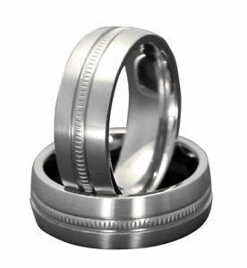 7mm Titanium Milgrain Center Satin Polish Comfort Fit Men's Ring Wedding Band