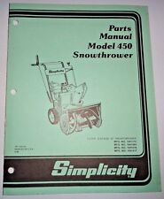 Simplicity 450 Snowthrower Parts Catalog Manual Book snow blower thrower