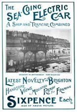 Antiguo Brighton VOLKS Ferrocarril Mar viaje sobre ruedas A3 viaje cartel re impresión