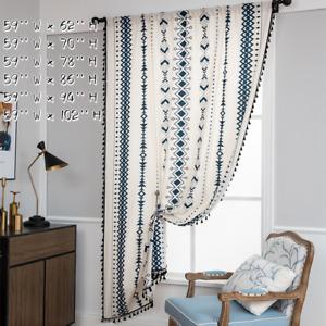 Cotton Llinen Curtain Panel with Tassels Bohemian Stripes Drape Rod Pockets