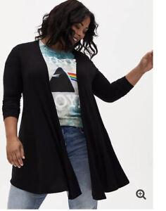 NWT Torrid Black Super Soft Open Front Drape Cardigan Size 3 3xl