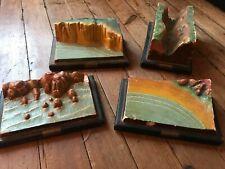 Lot de 4 Reliefs géographique en plâtre de Marcel Pierron (Sarreguemines)