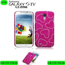 Diamant Strass Bling Schutz Hülle für Samsung Galaxy S4 i9500 Pink Herz Folie