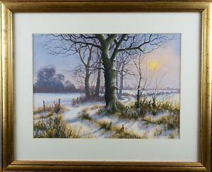 'Winter Sunset' by Kevin Curtis - River Deben / Suffolk Interest. Gouache.