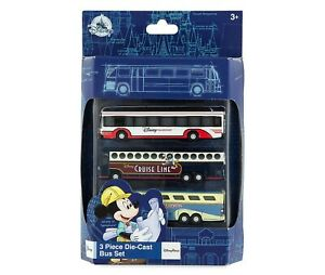 Disney Parks Die-Cast Transport Buses Bus Set of 3 Magical Express Cruise - NEW