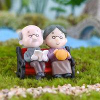 Opa Oma DIY Miniatur Figur Garten Puppenhaus Dekor Micro Landschaft AB
