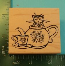 New ListingKitten In A Teapot Rubber Stamp by Embossing Arts Kitty Cat