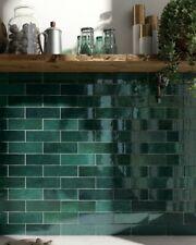 TILE SAMPLES: Zellige Royal Green Moroccan Handmade Metro Wall Tiles 6.5 x 20cm