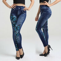Plus Size Women Denim Look Floral Butterfly Print Skinny Leggings Pants Trousers