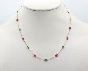 Beautiful Natural Ruby & Emerald Gemstone 18K Solid Yellow Gold Necklace Jewelry