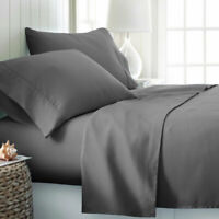 Queen 4PCS Bed Sheets Set Egyptian Cotton 1800 Thread Count Super Soft Ins Style