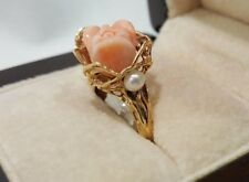 Fine Estate 14K Yellow Gold, Pearl, & Carved Coral Rose Ring Size 6.25