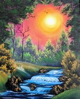 Original Signed Landscape Oil Painting Art Decor 16x20 Canvas Bob Ross Style