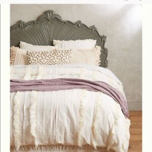 Anthropologie Tiered Ivory Ruffle King Duvet Cover