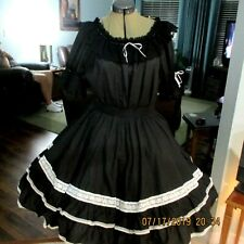 """M#7-SQUARE DANC SKIRT & BLOUSE,50""""bust,waist 30""""-40"""",22 """" LONG from  band"""